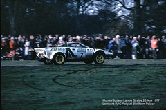 Lombard RAC Rally, Blenheim Palace, 1977 (beareye2010) Tags: rally rallyinginthe1970s rallycar lombardracrally lombardracrally1977 blenheimpalace 1977 1970s mickeymousestage sandromunari pierosodano lanciastratos alitalia