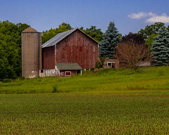Old Red Barn (AChucksEyeView) Tags: red wooden barn wisconsin rural silo field nature blue sky farm farming