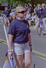 Shades (Totally Amateur) Tags: canoneos1v canonef2470mmf28lii fujifilmpro160s film negativefilm expiredfilm portrait girl shades cool blonde strawberry festival marchingband colorguard