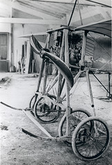 The front section of a French high wing monoplane, featuring a very strong four-wheel undercarriage [France, 1909 - 1910] (Kees Kort Collection) Tags: 2cylinder monoplane undercarriage