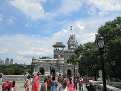 2019 Belvedere Castle Above the Turtle Pond NYC 3491 (Brechtbug) Tags: 2019 belvedere castle perched above turtle pond near delacorte theater closest 79th st central park west designed by architects calvert vaux jacob wrey mould 1869 victorian folly hybrid gothic romanesque styles medieval keep used measure weather patterns manhattan nyc june 062919 new york city summer reopened renovation romantic ruin mini palace lookout post tower turret stone bluff craggy rocky hill