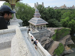2019 Belvedere Castle Above the Turtle Pond NYC 3489 (Brechtbug) Tags: 2019 belvedere castle perched above turtle pond near delacorte theater closest 79th st central park west designed by architects calvert vaux jacob wrey mould 1869 victorian folly hybrid gothic romanesque styles medieval keep used measure weather patterns manhattan nyc june 062919 new york city summer reopened renovation romantic ruin mini palace lookout post tower turret stone bluff craggy rocky hill