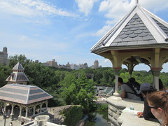 2019 Belvedere Castle Above the Turtle Pond NYC 3487 (Brechtbug) Tags: 2019 belvedere castle perched above turtle pond near delacorte theater closest 79th st central park west designed by architects calvert vaux jacob wrey mould 1869 victorian folly hybrid gothic romanesque styles medieval keep used measure weather patterns manhattan nyc june 062919 new york city summer reopened renovation romantic ruin mini palace lookout post tower turret stone bluff craggy rocky hill