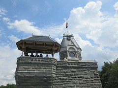 2019 Belvedere Castle Above the Turtle Pond NYC 3481 (Brechtbug) Tags: 2019 belvedere castle perched above turtle pond near delacorte theater closest 79th st central park west designed by architects calvert vaux jacob wrey mould 1869 victorian folly hybrid gothic romanesque styles medieval keep used measure weather patterns manhattan nyc june 062919 new york city summer reopened renovation romantic ruin mini palace lookout post tower turret stone bluff craggy rocky hill