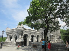 2019 Belvedere Castle Above the Turtle Pond NYC 3471 (Brechtbug) Tags: 2019 belvedere castle perched above turtle pond near delacorte theater closest 79th st central park west designed by architects calvert vaux jacob wrey mould 1869 victorian folly hybrid gothic romanesque styles medieval keep used measure weather patterns manhattan nyc june 062919 new york city summer reopened renovation romantic ruin mini palace lookout post tower turret stone bluff craggy rocky hill