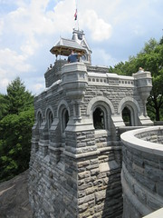 2019 Belvedere Castle Above the Turtle Pond NYC 3473 (Brechtbug) Tags: 2019 belvedere castle perched above turtle pond near delacorte theater closest 79th st central park west designed by architects calvert vaux jacob wrey mould 1869 victorian folly hybrid gothic romanesque styles medieval keep used measure weather patterns manhattan nyc june 062919 new york city summer reopened renovation romantic ruin mini palace lookout post tower turret stone bluff craggy rocky hill