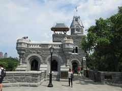 2019 Belvedere Castle Above the Turtle Pond NYC 3472 (Brechtbug) Tags: 2019 belvedere castle perched above turtle pond near delacorte theater closest 79th st central park west designed by architects calvert vaux jacob wrey mould 1869 victorian folly hybrid gothic romanesque styles medieval keep used measure weather patterns manhattan nyc june 062919 new york city summer reopened renovation romantic ruin mini palace lookout post tower turret stone bluff craggy rocky hill