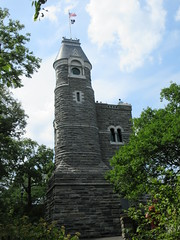 2019 Belvedere Castle Above the Turtle Pond NYC 3467 (Brechtbug) Tags: 2019 belvedere castle perched above turtle pond near delacorte theater closest 79th st central park west designed by architects calvert vaux jacob wrey mould 1869 victorian folly hybrid gothic romanesque styles medieval keep used measure weather patterns manhattan nyc june 062919 new york city summer reopened renovation romantic ruin mini palace lookout post tower turret stone bluff craggy rocky hill
