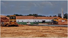 Under Construction   New Building: 100,000 Square Feet of Storage   Marketplace Terrell Mill   Marietta, GA (steveartist) Tags: constructionsite redearth asphaltroad bulldozer powershovel buildings trees concretepole overcastskies sonydscwx220 snapseed photostevefrenkel
