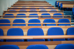 empty desk in auditorium (Rushay) Tags: blue desk auditorium empty inarow grahamstown southafrica