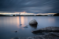 Stripes (Petri Karvonen) Tags: landscape nature lakescape lake kallavesi kuopio finland suomi summer sunset evening kesä water longexposure leefilters bigstopper gnd nd neutraldensity grad graduated rocks auringonlasku clouds cloudy horizon olympus om 28mm 282 scenery