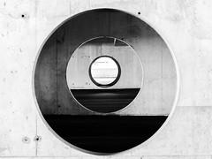 Concrete Circles (Karen_Chappell) Tags: circle concrete abstract round geometry geometric garage parkinggarage mun stjohns city urban memorialuniversity university building circles canonef24105mmf4lisusm blackandwhite bw