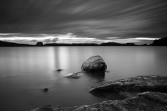 Stripes B&W (Petri Karvonen) Tags: landscape nature lakescape lake kallavesi kuopio finland suomi summer sunset evening kesä water longexposure leefilters bigstopper gnd nd neutraldensity grad graduated rocks auringonlasku clouds cloudy horizon olympus om 28mm 282 scenery blackandwhite bw monochrome