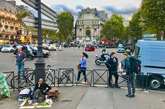 Paris Street Scene (cjbphotos1) Tags: paris france europe eu fountain travel travels vacation walking french rabbit bunny beggar homeless rue stgermaindespres st germain leftbank latinquarter placestmichel davioud duret dragon boulevard stmichel