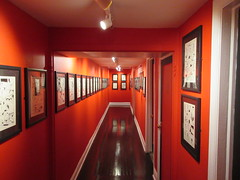 80 Years of Batman - Society of Illustrators Mezzanine Red Hallway 3357 (Brechtbug) Tags: 80 years batman show society illustrators building east 63rd street near lexington avenue 06292019 museum comic cartoon art new york city june 2019 strip comicbook illustration exhibitions exhibition museums galleries pop popular culture pulp fiction comics sunday funnies comix location interior mocca fest hall halls soi bat manga jiro kuwata s japanese version originals collected by chip kidd american graphic designer and others