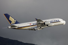 9V-SKK, Airbus A380, Singapore Airlines, Hong Kong (ColinParker777) Tags: airbus a380 380 a388 388 a380800 380800 sq sia singapore airlines airways airline airliner aircraft aeroplane travel travelling departure takeoff green trees jungle woods forest hills mountain hkg vhhh hong kong chek lap kok airport canon 7d2 7dmk2 7dmkii 7dii 200400 l lens zoom telephoto pro 9vskk