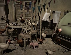 tea for 2 (Frankie B. Fallen) Tags: chicken pig teatime tea party countrylife rustic funny rural life belliseria lindenlabs socondlife vintige retro cute adorable farmlife wilbur travel oldworld europe scenic inspirational clocks dalmation breeandmerooster fallen