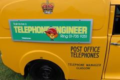 1973 Morris Van,2 (doojohn701) Tags: telephone yellow classic van advertising text busby 1973 cowley morris minor uk