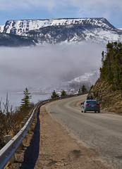 Driving Gros Morne (Valley Imagery) Tags: gros morne drive car road fog mountain day blue snow sony a99ii 70400gii