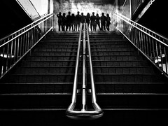 West Side Story (gimmeocean) Tags: subwaystairs stairs staircase subway newyorkcity nyc newyork city underground smoke silhouettes blackandwhite bw mono monochromatic iphoneography iphonenography photoshop sliderssunday hss