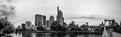 Frankfurt Panorama (Christoph Wenzel) Tags: frankfurt architektur blackandwhite sigma16mmf14dcdn sonyalpha6000 wasser deutschland stadt hessen bw skyline wolkenkratzer panorama frankfurtammain