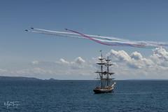 """Plane Sailing"" (miketonge) Tags: redarrows raf guernsey channelislands alderney ship jets hawk sark jersey sailingship airshow st peter port stpeterport"