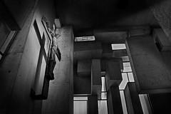 contemporary christian church (heinzkren) Tags: schwarzweis blackandwhite monochrome biancoetnero noiretblanc wien vienna mauer austria wortruba kirche architektur architecture windows modern shadow schatten licht light cross kreuz indoor altar canon eosr concrete baustil worubakirche beton abstract