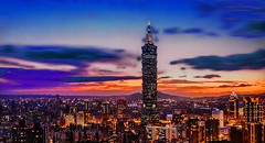 TAIWAN -  Taipei at sunset (Jacques Rollet (Little Available)) Tags: taiwan taipei sunset building asia groupenuagesetciel