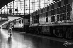 Hua Lamphong Train Station, Bangkok (Maxime Gallerand) Tags: happyplanet asiafavorites noiretblanc black white bangkok train station monk hua lamphong gare thailand nikon d610 2470 moine wagon
