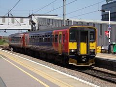 East Midlands Trains Class 153 153368 (Alex S. Transport Photography) Tags: outdoor vehicle train rail railway peterborough multiple unit eastmidlandstrains sprinter emt stagecoach class153 2k23 153368