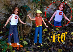 POSE 'N PLAY TIFF (ModBarbieLover) Tags: tiff doll skipper 1972 mattel barbie fashion jeans pak outdoors skateboard toy pose living