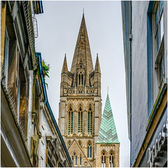 Inspired - Truro Cathedral, Cornwall. (john lunt) Tags: cornwall truro religious religion cornish stone cathedral architecture old building warm yellow beige green architectural england uk britain christian diocese city bishop throne gothic tower spire copper spires mullion windows steeple square colour color cityscape johnlunt landmark towering neogothic detail beautiful dramatic sony alphaa7r2 zeiss55mmf18za arch arches christianity cross lancetwindows slates magnificent awesome tremendous sandstone hdr tonemapped