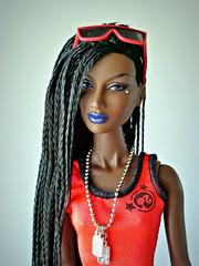 Blue lips (Deejay Bafaroy) Tags: fashion royalty fr integrity toys black doll puppe barbie annik theawakening awakening nuface portrait porträt red rot blue blau outfit sunglasses sonnenbrille
