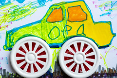 Children's art (FotoCorn) Tags: colored art vibrant drawing children colorful creativity sketch car artwork crayon paper child painting wheels