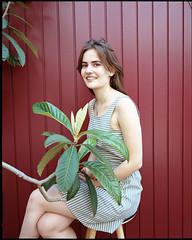 A. (AntoineLegond) Tags: portrait beauty woman plant naturallight cherryred burgundy mediumformat mamiya7 mamiya7ii 6x7 kodak portra film analogue paris