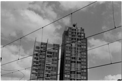 Align (Elios.k) Tags: horizontal outdoors nopeople building apartmentbuilding tall highrise structure skyscraper architecture design city cable tram lines abstract goldenball roof scheveningen dof depthoffield focusonforeground backgroundblur sky cloud cloudy weather blackandwhite bw mono monochrome travel travelling may 2018 canon camera photography denhaag hague netherlands nederland europe film analoguephotography scannedfilm kodaktrix400 analogfilm grain contrast canona1 a1 analogcamera