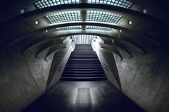 Bahnhof Liège-Guillemins (Der Hamlet) Tags: lüttich liege belgien bahnhof treppen aufgang bahnsteig züge katakomben licht schatten regionwallonien santiagocalatrava stahl glas beton