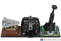 "Lego Star Wars - ""Rogue One"" Skyline MOC (3) (BenBuildsLego) Tags: star wars cool lego legos scarif eadu jedha city brick bricks bricklink studio render skyline architecture beautiful design tower space ship benbuildslego micro microscale"