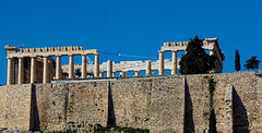 View from the Acropolis Museum café__ (Ardan_Dojan) Tags: acropolis athens greece winter shadows wall tree sky blue ancient ruins famous holiday vacation recreation democracy home high travel travelling travelphotography landscape landscapephotography photoart photography