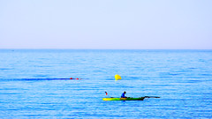 Yes, it is summer! (Fnikos) Tags: sea mar mare water sky cielo sport sports rowing remo colour color colors colores blue blu blau azul people outside outdoor seascape