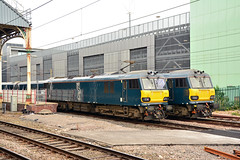 92014 0Z92 92010 5Z11 Preston (British Rail 1980s and 1990s) Tags: caf cs caledoniansleeper gbrailfreight gbrf europorte mk5 mkv sleeper locohauled 5z11 electric ac station lhcs ecs emptycarriagestock br britishrail brush 92 class92 92010 train rail railway loco locomotive lmr londonmidlandregion mainline wcml westcoastmainline lancs lancashire livery preston liveried traction 92014 0z92