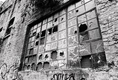 (a.pierre4840) Tags: olympus om3 zuiko 35mm f28 35mmfilm ilford ilfordhp5 hp5 hp5plus bw blackandwhite noiretblanc window abandoned derelict ruined broken decay urban london england texture