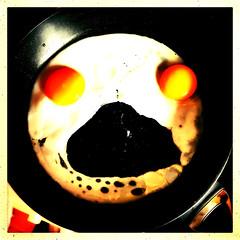 Egg-Scream (Julie (thanks for 8 million views)) Tags: sliderssunday hss squareformat iphonese friedeggs breakfast food thescream hww fryingpan 100xthe2019edition 100x2019 image70100 hipstamaticapp kitchen pareidolia
