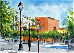 Puerta de Elvira (Dr Graham Beards) Tags: puertadeelvira albaicin alhambra andalucia architecture granada townscape spain lamppost watercolor watercolour grahambeards