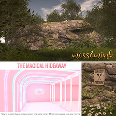 {moss&mink} for The Crystal Heart Festival (Cielo {moss&mink}) Tags: land rock rocks boulder secret hideout hideaway pink girly kawaii neon build roleplay superhero hero super power girls magical magic moss mink mossmink landscaping landform forms cliff decor decorate house bunker home fort babe cave den refuge sanctuary shelter safe safety haven retreat crystal heart festival