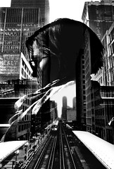 Profiles (draketoulouse) Tags: chicago city loop cta monochrome blackandwhite street streetphotography double exposure contrast layers blur harsh downtown