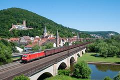 29-6-2019 - Gemünden (Main) (berlinger) Tags: bayern deutschland railroad bridge main eisenbahn brücke railways freighttrain güterzug gemünden br185 185254
