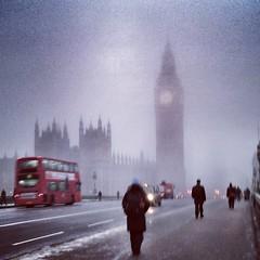 Westminster Bridge 2013. On my way to work one morning. (anuradhadeacon-varma) Tags: snow winter doubledeckerbus london westminsterbridge