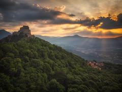 Sacra di San Michele - II (der_peste (on/off)) Tags: monastyr kloster sacradisanmichele turin torino piemont piemonte italy sunrise clouds crepuscularrays raysoflight godrays