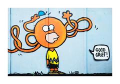 Good Grief! (PeteZab) Tags: nottingham uk urban streetart grafitti charliebrown mrtickle sneintonmarket peterzabulis homersimpson
